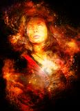 Godinvrouw in Kosmische ruimte Kosmische ruimteachtergrond Oogcontact Brandeffect vector illustratie
