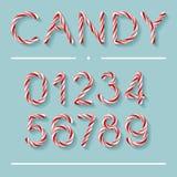 Godis Cane Font - nummer vektor illustrationer