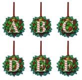 Godis Cane Holly Ornament Alphabet Fotografering för Bildbyråer