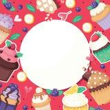 Godis för bakgrund för mat för kaka för muffinaffischmodell som gullig förpackar utsmyckat kakabanerpapper, vektor för fruktmuffi vektor illustrationer