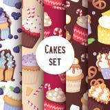 Godis för bakgrund för mat för kaka för sömlös modell för muffin som gullig förpackar utsmyckat kakainpackningspapper, fruktmuffi stock illustrationer