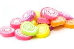 Godis marshmallow med gelatinefterrätten Arkivbild