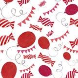 Godisar, flaggor och ballonger för sömlös vattenfärg mönstrar färgrika isolerade beståndsdelar på vit bakgrund stock illustrationer