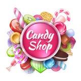 Godisbakgrund Realistisk sötsak- och efterrättram med text, färgrika kolaklubbor och karamellkonfekten vektor royaltyfri illustrationer