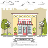 Godisen shoppar, kafét med lampor, blommor på stadsbakgrund stock illustrationer