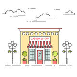 Godisen shoppar, kafét med lampor, blommor på vit bakgrund stock illustrationer