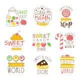 Godisen shoppar Promoteckenserie av färgrika vektordesignmallar med sötsaker och bakelsekonturer royaltyfri illustrationer
