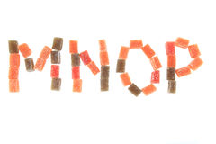 godisfrukt skära i tärningar alfabet Arkivbilder