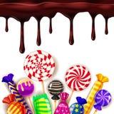 Godissötsaken shoppar colourfullmallen ställde in av olika färger av godisen, sötsaker, gelébönor med chokladdroppander royaltyfri illustrationer