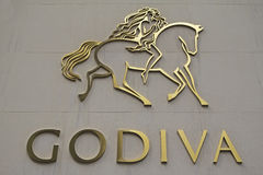 Godiva Chocolatier Company Sign Image stock