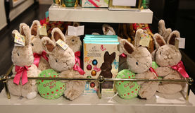 Godiva Chocolatier 2017 Limited‑Edition Plush Bunny on display in Macy`s Herald Square. NEW YORK - APRIL 4, 2017: Godiva Chocolatier 2017 Limited‑Edition Stock Image