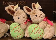 Godiva Chocolatier 2017 Limited‑Edition Plush Bunny on display in Macy`s Herald Square. NEW YORK - APRIL 4, 2017: Godiva Chocolatier 2017 Limited‑Edition Royalty Free Stock Photography