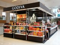 Godiva in Hong Kong. Godiva Chocolatier is a manufacturer of premium chocolates founded in Belgium i stock images