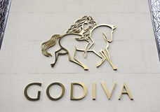 Godiva logo on store wall Stock Image