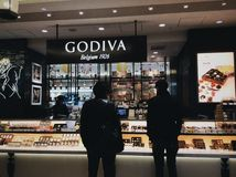 Godiva Shop in Tokyo. Godiva shop in Tokyo with various drinks and chocolate. Famous chocolate brand with shops worldwide and also provide ice creams Stock Image