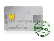 Godkänd kreditkort plus den rubber stämpeln vektor illustrationer