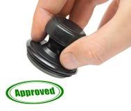 godkänd rubber stämpel för hand Royaltyfri Fotografi