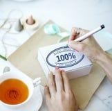100% godkända exklusiva garantiproduktbegrepp Royaltyfria Bilder