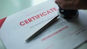 Godkänt certifikatdokument, hand som stämplar skyddsremsan på officiellt papper, godkännande stock video