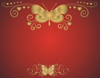 Godlen butterfly. Golden butterfly on red background -  illustration Royalty Free Stock Photos