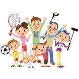 Godo degli sport in famiglie Immagine Stock