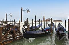Godolas在威尼斯。 意大利 免版税图库摄影
