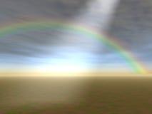 Godrays et arc-en-ciel Photo libre de droits