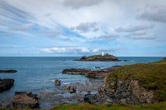 Godrevy ö i Cornwall arkivfoton