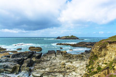Godrevy point lighthouse and coastline at  Cornwall Royalty Free Stock Photo