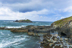 Godrevy point lighthouse and coastline at  Cornwall Stock Images