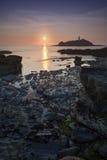 Godrevy-Sonnenuntergang Lizenzfreies Stockbild