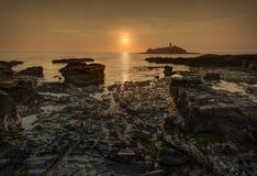 Godrevy-Sonnenuntergang Stockfoto