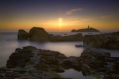 Godrevy-Sonnenuntergang Lizenzfreies Stockfoto