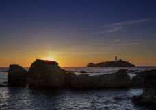 Godrevy-Sonnenuntergang Lizenzfreie Stockbilder