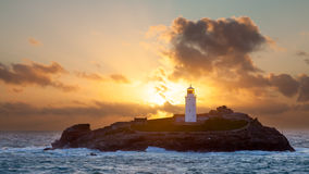 Godrevy wyspy latarnia morska Fotografia Royalty Free