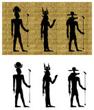 Gods of Ancient Egypt Silhouettes Royalty Free Stock Image