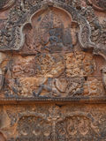 Gods bas-relief in Banteay Srei, Siem Reap Royalty Free Stock Photo