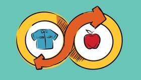 Gods för swap för utbyte för begrepp för transaktion för bytekommershandel som ekonomiskt drar illustrationen stock illustrationer