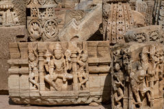 Gods of Hinduism on sculptural of India Royalty Free Stock Photos