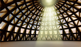 Gods holy light in abstract architectural dome. Straight beam of gods holy yellow lighting in abstract architectural moder dome made from metalic brown and Stock Photography