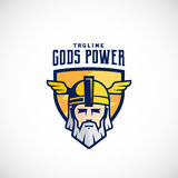 Gods Power Vector Sport Team or League Logo Template. Odin Face in a Shield, with Typography. Mighty Warrior Head in Helmet Mascot. Isolated Stock Images