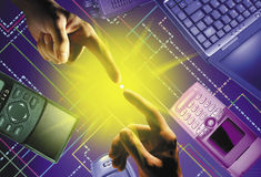 Gods touch. A finger touching another finger over a technology background stock illustration