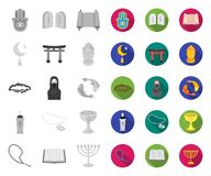 Godsdienst en geloofs mono, vlakke pictogrammen in vastgestelde inzameling voor ontwerp Toebehoren, de voorraadweb van het gebed  royalty-vrije illustratie