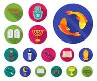 Godsdienst en geloofs vlakke pictogrammen in vastgestelde inzameling voor ontwerp Toebehoren, illustratie van het de voorraadweb  royalty-vrije illustratie