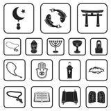 Godsdienst en geloofs zwarte pictogrammen in vastgestelde inzameling voor ontwerp Toebehoren, illustratie van het de voorraadweb  vector illustratie