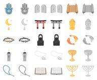 Godsdienst en geloofsbeeldverhaal, monochrom pictogrammen in vastgestelde inzameling voor ontwerp Toebehoren, de voorraadweb van  vector illustratie
