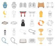 Godsdienst en geloofsbeeldverhaal, overzichtspictogrammen in vastgestelde inzameling voor ontwerp Toebehoren, de voorraadweb van  royalty-vrije illustratie