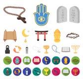 Godsdienst en geloofsbeeldverhaal, vlakke pictogrammen in vastgestelde inzameling voor ontwerp Toebehoren, de voorraadweb van het royalty-vrije illustratie