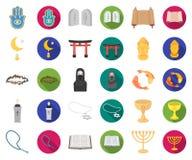 Godsdienst en geloofsbeeldverhaal, vlakke pictogrammen in vastgestelde inzameling voor ontwerp Toebehoren, de voorraadweb van het vector illustratie