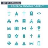 Godsdienst en Philosphy-pictogrammen geplaatst blauw stock illustratie